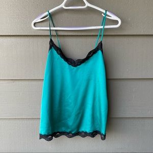 Tops - Turquoise Camisole with Black Lace Trim